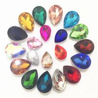plastik dekorative kristalle großhandel-10x14mm 13x18mm 18x25mm 20x30mm Für Wahl Nach dem Zufall Mischfarben Teardrop Glas Kristall Fancy Stones für Schmuckherstellung, DIY Dekoration