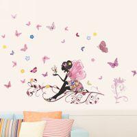 süs dekalseri toptan satış-50x70 cm Peri Çiçek Kelebek Etiketler Çıkartması Dekorasyon DIY Kreş Çocuk Bebek Kız Odası Duvar Sticker Ev Süsler Mayitr Yeni