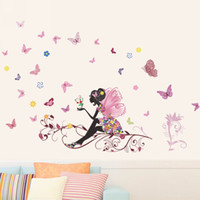 Wholesale Wood Pvc Wall Sticker - 50x70cm Fairy Flower Butterfly Stickers Decal Decoration DIY Nursery Kids Baby Girl Room Wall Sticker Home Ornaments Mayitr New