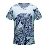 Wholesale Leopard Print T Shirt Men - 2018 new Summer luxury Brand tshirt designer italy europe her paris tiger leopard color print Men casual women t-shirt shirt tee top