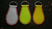 Wholesale Embroider Keychain - 2017softballsunny Embroidered yellow leather Softball Key Chain with white real leather Baseball keychain