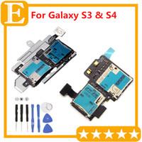 Wholesale Sim Card Memory Sd Holder - SIM card holder + micro SD memory card slot Flex Cable for Galaxy S3 III i9300 i9305 I747 VS S4 i9500 i9505 i337 M919