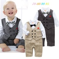 Wholesale Boys Christmas Bow Tie - Ins Babys Boys Romper Stripe Kids Clothing 2017 New Autumn Winter Jumpsuits Rompers Long Sleeve newborn Bow Tie Romper YAN-599