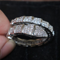Wholesale Snake Wedding Rings - European and American Brand 10KT white gold filled Snake Ring Fashion Simulated Diamond Zircon Gemstone Ring Wedding Band Jewelry for Women