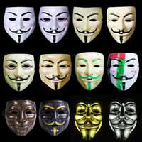Wholesale v for vendetta mask plastic resale online - V Vendetta Mask Halloween Plastic Mask for Adult Decorative Props Full Face Mask Multi Colors Ribbon Blush Cosplay Party Ball Costume