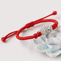 roi corde achat en gros de-Obsidian Red Agate King Kong Étudiants Red Rope Bracelet Femelle Homme Couple Tissage Bijoux