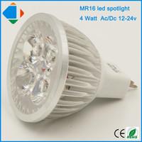 Wholesale 12 Led Downlight - 5 pcs mr16 4 watt led spotligth high power ac dc 12-24v 4w led bulb downlight lighting