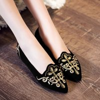 Wholesale Design Espadrilles - Women's Suede Leather Ballet Flats Pointed Toe Brand Design Slip-on Ballerinas Shoes Women Elegant Ladies Embroidery Espadrilles