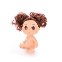 "Wholesale Ddung 9cm - 1set 5piece 9cm Doll for Mini Ddung Dolls with Brown Bun Hair Baking Mold Dolls Girl Toys 3.5"""