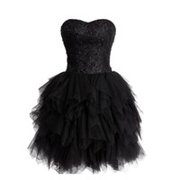 Wholesale Strapless Dress Puffy Skirt - 2016 Gorgeous Sweet 16 Dress Black Homecoming Dresses Beaded Sequins Lace Top Ruffled Puffy Skirt Lace-up Corset Back Strapless Sweetheart