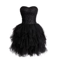 siyah korse eve dönüş elbiseleri toptan satış-Muhteşem Tatlı 16 Elbise Siyah Mezuniyet Elbiseleri Boncuklu Sequins Dantel Üst Ruffled Kabarık Etek Dantel-up Korse Geri Straplez Sevgiliye