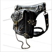 Wholesale Chinese Motorcycle Body - Personality Women Men Black Leather Steampunk Mini Waistbag Motorcycle Leg Thigh Holster Bag Crossbody Bag hight quality free shipping