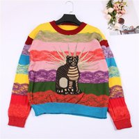 Marke Design Katze Stickerei Regenbogen Striped Jumper Winter Neue Mode Jersey Frauen Pullover Pullover Stricken Top Runway 7Z16