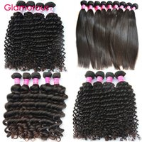 Wholesale Brazilian Deep Weave Piece - Glamorous Peruvian Human Hair 4 Bundles Brazilian Virgin Hair Extensions Malaysian Indian Curly Straight Deep Wave Natural Wave Hair Weaves