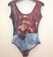 Wholesale Marilyn Monroe Swimsuits - 2016 New one piece Rihanna Marilyn Monroe Barbie swimsuit 3D Sexy women Print Funny swimwear bodysuit bathing swimming swim suit