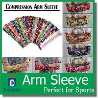 bisiklet kolu kılıfı toptan satış-128 renkler Profesyonel Sıkıştırma Spor UV Kol Kollu Bisiklet Basketbol Armguards