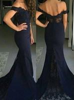 Wholesale Size Pictures Women - Vestidos Cortos de Gala Modest Long Black Lace Prom Dresses 2016 Off Shoulder Sweetheart Chiffon Ombre Bridesmaid Dress Women Party Gowns
