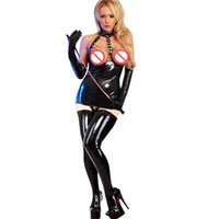 Wholesale Leather Open Bra - Wholesale Plus Size Sexy Lingerie Latex Fuax leather babydoll Women Dress Open Bra Game Clothes Hollow Cosplay Clothing