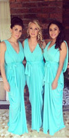 Wholesale green chiffon dress belt - Unique Glowing Teal Turquoise Long Bridesmaid Dresses 2016 New V Neck Pleated Chiffon Cloak Back Dummer Maid of Honor Gowns with Belt BA3233