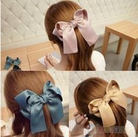 Wholesale Hair Accessory Bow Ladies - New Hair accessories Satin Ribbon Bow Hair Clips Barrette Ponytail Holder Hairgrips For Kids Lady 7 Colors