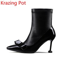 Superstar Cow Leather Thin High Heels Sapatos de inverno de casamento Pointed Toe Bowtie Fashion Chelsea Boots Designer Mild-calf Boots L83