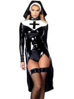 Wholesale Unique Sexy Costumes - Wholesale-Sexy Saintlike Seductress Sultry Costume Woman Halloween Nun 2016 Unique Design Cosplay Costume W850640