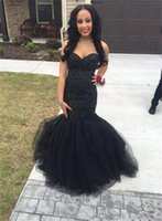 Wholesale Sweetheart Style Evening Dress - Black Girl Prom Dress Mermaid Style Sweetheart Sequins Beads Tutu Tulle Girls Pageant Dress Floor Length Lace Up Formal Evening Gowns