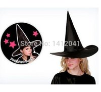 Wholesale Adult Womens Costumes Accessories - Wholesale-FD624 Durable Pretty Adult Womens Black Witch Hat Halloween Costume Accessory New Hat x 1Pcs