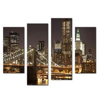 Wholesale Brooklyn Bridge Canvas - Amosi Art-4 Pieces Canvas Modern Artwork the Brooklyn Bridge Landscape Pictures Paintings on Canvas Wall Art for Home Decor(Wooden Framed)