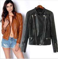 Wholesale Thin Leather Jackets For Women - men Women Genuine Leather Jacket For Women Goat Skin Fashion Black Thin Rivets Bomber Motorcycle Coat Female Jaqueta 178