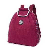 Wholesale Cloth Soft Book - Korean Female Oxford Cloth Backpack Rivet Shoulder Bag 2015 New Fashion Leisure Nylon Book Bag