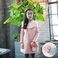 Wholesale Beach Bags Natural - Girls Party Dress 2-10Year Kids Girl Warm Lace Pearl Dresses with bag Infant Baby Thick Dress Princess Turtleneck Dresss Children Clothing
