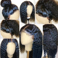 Wholesale Long Black Brazilian Curly Hair - 360 Lace Frontal Wig 180% Density Full Lace Human Hair Wigs For Black Women Brazilian 360 Lace Wig with Baby Hair(12inch,kinky curly)