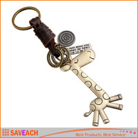 Wholesale Bronze Giraffe - Retro Style Cute Giraffe Key Chain, Fashion Animal Leather Alloy Keychains Key Ring Holder Organizer For Women Men