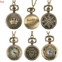 Wholesale Crown Pocket Watch - New Fashion Bronze Pocket Watches Steampunk Quartz Necklace Pendant Chain Clock Pocket Watch Pattern Hollow Flower Animal Crown Watch 19878