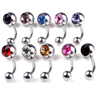 Wholesale Pink Belly Rings - Navel Rings 17G Stainless Steel Single Gem Belly Button Ring 20pcs Body Piercing Jewelry Red White Blue Purple Pink Champagne[BB39*10]