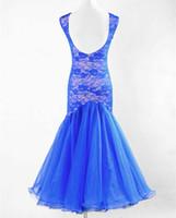 ingrosso abito nero nero-New Ballroom Dance Dress Modern Waltz Tango Standard Blu Nero Verde Abito da ballo in pizzo 3Colore Taglia S-3XL