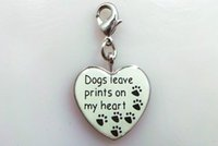 Wholesale Dog Collar Heart Charms - metal enamel heart dangle dog paw print charm puppy pet animal lobster clasp dog collar charm jewelry bracelet and necklace