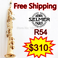 Wholesale Case Bb - Wholesale-Free shipping EMS Genuine France Soprano Saxophone R54 Professional bB Gold Sax mouthpiece With Case Accessories
