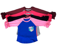 Wholesale Toddler Ruffle Shirts - 3T Custom Hot Pink Raglan Shirt wholesale Toddler Raglan Ruffled Monogram Set Birthday Shirt free shipping