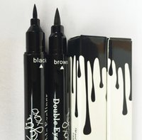 Wholesale Water Gels Colors - Kylie Liquid Eyeliner Makeup Double Eye Liner Brown and Black 2 in 1 gel eyeliner High Quality Free Shipping