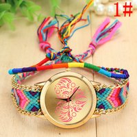 Wholesale Geneva Heart - National wind Geneva woven ladies love bracelet table Han edition delicate DIY craft watches heart-shaped watches