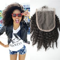 Wholesale afro kinky curly closure resale online - Lace Closure x4 Virgin Peruvian Human Hair Afro Kinky Curly Top Grade Unprocessed Human Hair Closure LaurieJ Hair
