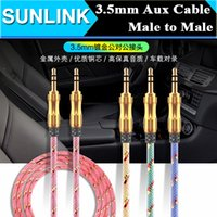 Wholesale Mp3 Luxury - Luxury 3.5mm 1M 3FT Braided AUX Audio Cable Cucurbit Auxiliary Cable Male To Male Stereo Car Extension Audio Cable For MP3 Car Phone