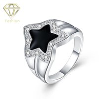 Wholesale emerald cut engagement rings - Emerald Cut Engagement Rings Oil Drip Romantic Black Star Rings with AAA+ Cubic Zirconia Silver Plated Jewelry for Women