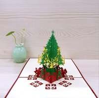 Lovely 3D New Year Événement Party Supplies Paper DIY Hand Made Festive Joyeux Noël Arbre Cadeau Favors Postcard Carte de voeux 6 Style