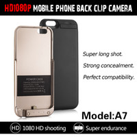 Wholesale Hidden Spy Mobile Phone - A7 HD 1080P Power Bank Mobile Phone black clip Spy Hidden Camera DVR Video Motion detection 8G