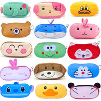 Wholesale Kawaii Pencil Cases - Wholesale-2016New Cute Cartoon Kawaii Pencil Case Plush Large Pencil Bag for Kids School Supplies Material Korean Stationery Free shipping