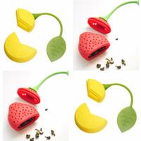 bolas de bolsa de té al por mayor-4pcs Silicone Tea Ball Bag Strainer Strawberry Herbal Spice Infuser herramienta de filtro # R571