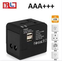 Wholesale Eu Socket Usb - Newest Multifunctionele Global Wereldwijd Reizen 2 USB Port Adapter Socket Universele Dual USB Charger Global Plug